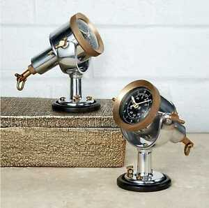 Knot Log Table Clock Brass and Aluminum from Pendulux