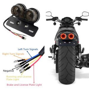 Cheap Motorcycle Smoke Len LED Dual Head License Plate Brake Tail Light Indica