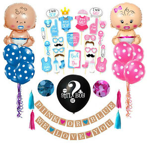 Boy or Girl Baby Shower Decorations, Gender Reveal Photo Props, Balloons, Banner