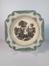 """Vintage Adams Porcelain """" Landscape"""" Lunch Plate, Appr.24x24cm"""