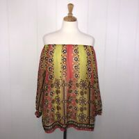 Fei Anthropologie Women's Silk Off Shoulder Blouse Sheer Floral Coral Yellow L