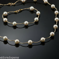 "14K YELLOW GOLD & WHITE FRESH WATER PEARL SET NECKLACE 16 "" & 7"" BRACELET"