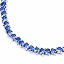 """Blue Sapphire Round Two Prong .925 Sterling Silver Bracelet 7"""""""
