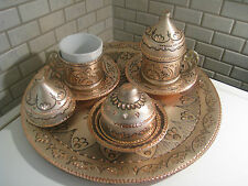 Handmade Copper Turkish Coffee&Espresso Serving Set,Tray:OTTOMAN HANDCRAFTED