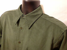 Men M.E. SPORT COLLECTION Sueded Button Down Shirt Sz M Green L/S 100% Polyester