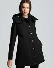 NWT Authentic Burberry Lakemoore Hooded Trench Coat, Black Women US10P
