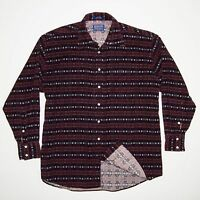 PENDLETON Men's Western Pearl Snap Shirt Red South west corduroy Print L