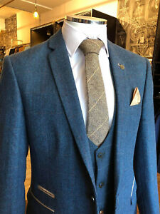 Blue Plaid Men Tweed Suits Herringbone Groom Tuxedo Wedding Suit Prom 48R/3XL
