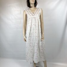 PRE-OWNED EILEEN WEST SLEEVELESS 100% COTTON FLORAL LONG NIGHTGOWN