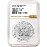 2019 Modified Proof $5 Silver Canadian Maple Leaf NGC PF70 Brown Label Pride of