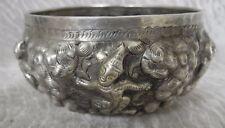 Antique Thai Oriental Asian Indian Repousse Silver Bowl