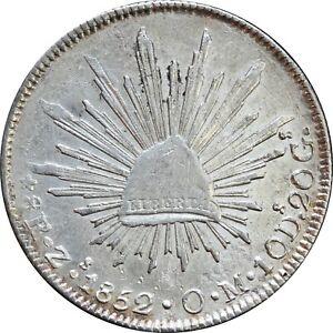Mexico 8 Reales Zs 1852 O.M. Zacatecas Mint, KM# 377.13