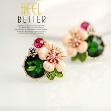 Earrings Class Big CLIP ON Gold Enamel Pink Flower Green Emerald Leaves L2
