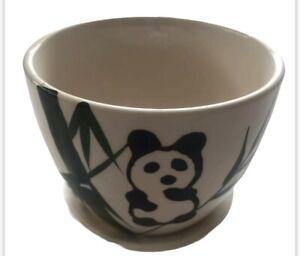 """Ceramic Succulent Planter Pot Saucer Panda Bamboo Flower Cactus Green DIY 4.5"""" H"""