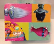 New Dreamworks Trolls Metal Tin Lunch Box with 24pc Puzzle Cardinal