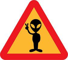 Poster A4-Alien dans un triangle de signalisation donne la paix signe (photo print UFO art)