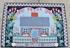 """CLAIRE MURRAY """"HOME SWEET HOME"""" RECTANGULAR WOOL HOOKED RUG 29"""" X 37"""""""