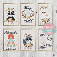 Baby Animals Panda Llama Raccoon Set of 6 Nursery Cross stitch PDF Pattern #156