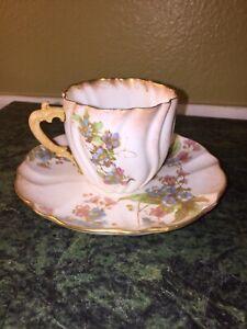 Antique Doulton Burslem Demitasse Cup And Saucer