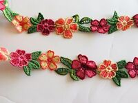 """Floral Embroidered Border Ribbon Lace Trim for Sewing/Crafts/Bridal/1.25"""" Wide"""
