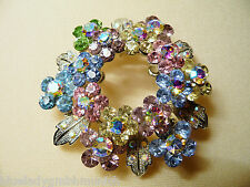Brosche ✿ Blüten Feuer ✿ Multicolor STRASS Anstecknadel NADEL Kristalle