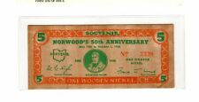 1938 50th NORWOOD OHIO 150th NORTHWEST TERRITORY WOODEN CURRENCY 5c 1778 1888 NR