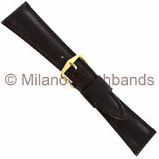 22mm Downing Brown Norwegian Calf Leather Padded Stitched Watch Band
