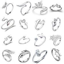 Verstellbare Ring Delfine Kristallblume Herz Stil Offene Ringe Schmuck Geschenke