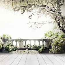 10x10ft Vinyl Spring White Wedding Outdoor Balcony Floral Backdrop Background