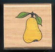 Pear Stem Leaves Tree Orchard Fruit Food New wood mount Rubber Stamp