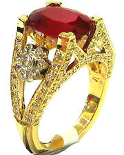 14K YELLOW GOLD BRIDAL SET 4.50CT OVAL RUBY & ROUND DIAMONDS ANTIQUE DESIGN RING
