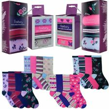 4 Pairs Womens Ladies Socks in Gift Box Cotton Rich Floral Stripe FOXBURY UK 4-7