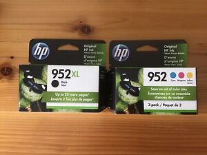 New 4-PACK COMBO HP GENUINE 952XL BLACK & 952 COLOR  Exp. Sept. 2022