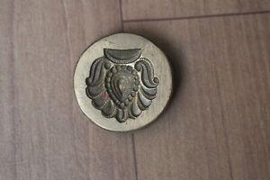 Vntg Collectible indian Brass Bronze Jewelry Die Mold flower Hand Engraved Die
