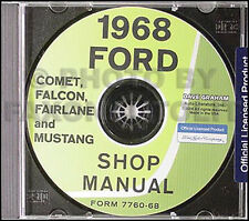 1968 Ford Shop Manual CD Mustang Ranchero Torino Fairlane Futura Falcon Repair