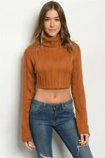 Rust Turtleneck Crop Top Sweater Size Small Ribbed Long Sleeve