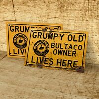 Grumpy old Bultaco owner lives here sign for garage, man cave