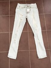 """Nouveau Liquor N Poker Taille Haute Blanchie Déchiré Denim Jeans UK 8 Taille 28"""" CX09"""