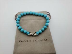 David Yurman Men's Spiritual Bead Bracelet with Turquoise 8mm length 8.5
