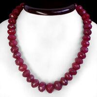 GENUINE 662 CTS NATURAL ROUND FACETED RED RUBY BEADS NECKLACE STRAND - (DG)