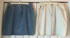 Pair of Gitano Denim Skirts Size 16-18:  Medium Blue + Palest Icy Blue