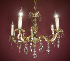 SMALL GOLD BRONZE CRYSTAL CHANDELIER  VINTAGE OLD CEILING LAMP ANTIQUE BRASS