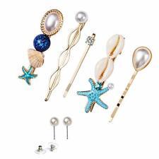 SENNI 6PCS Shell Hair Clip Pearl Earrings