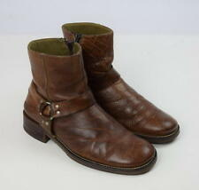 BULL BOXER Brown Leather Zip Belted Harness Biker Harness Ankle Boots 43 Mens 10