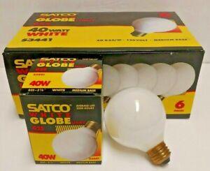 Satco White Globe Light Bulbs Bathroom Vanity 40 Watt Six Pack