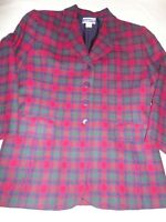 Vintage Pendleton Women's Blazer Size Small Tartan Plaid Wool Made in USA