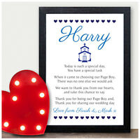 Personalised Page Boy Thank you Poem - Gifts for Page Boy Usher Best Man Present