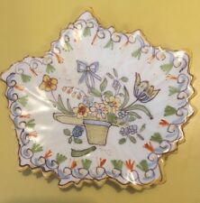 Fourmaintraux Freres Leaf Shaped Dish China Porcelain Small Hat Flowers Trinket