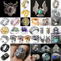 Women Men Vintage Gothic Punk Skull Ring Cool Dragon Band Rings Fashion Jewelry