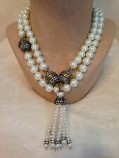 HEIDI DAUS White Pearl Tassel Necklace - SET OF 2
